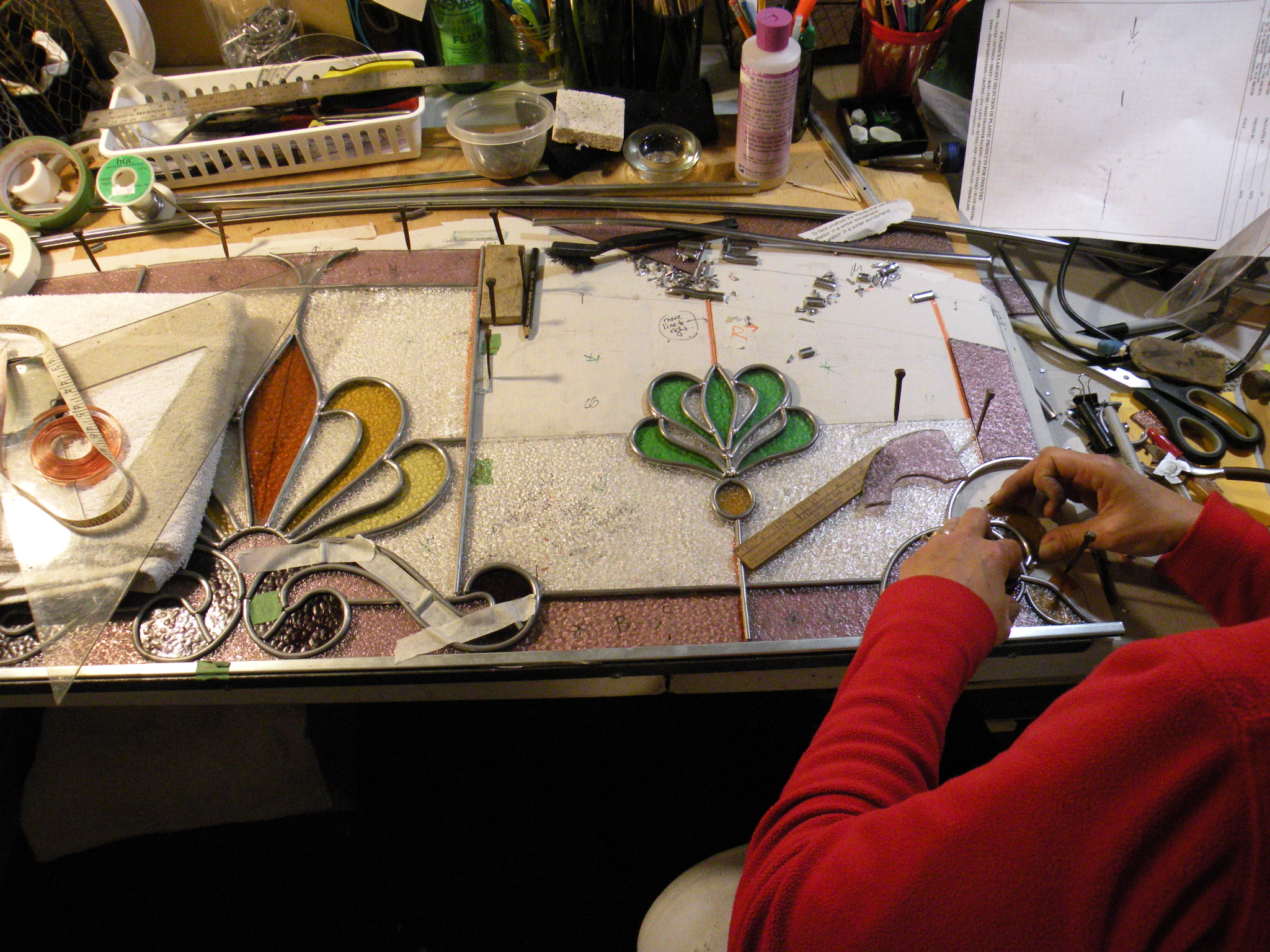 Restoration of stained glass work by Sageleaf Whimsy studios
